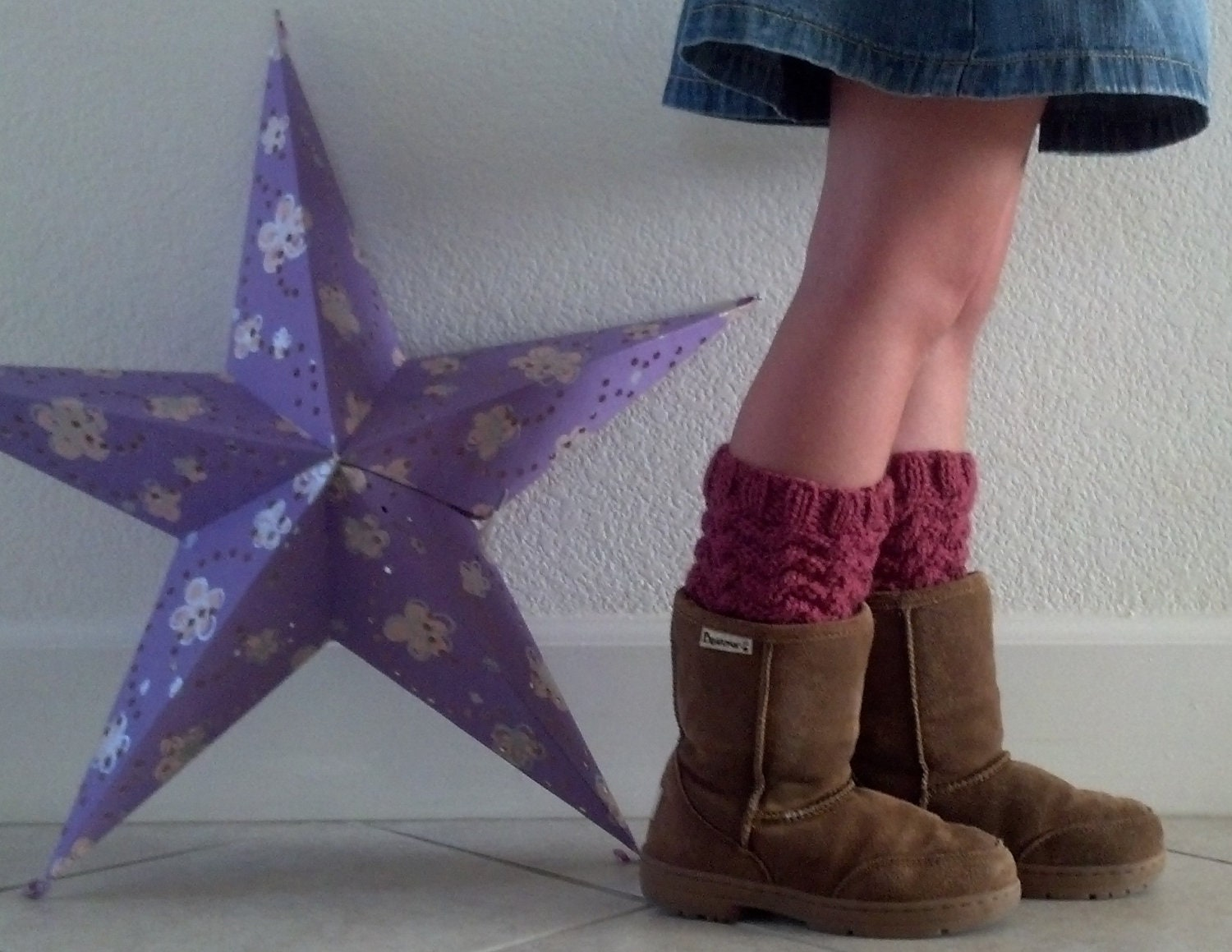 Hand knit short leg warmers / Boot cuffs / Boot tops for girls - RASPBERRY- (more colors available)