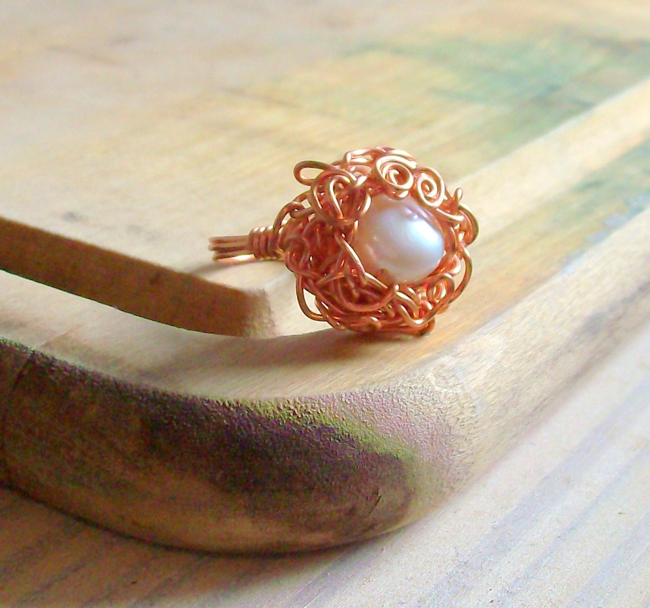 Nest Pearl Copper Ring - Wire Wrapped - White - Autumn - stoneandbone - Vintage
