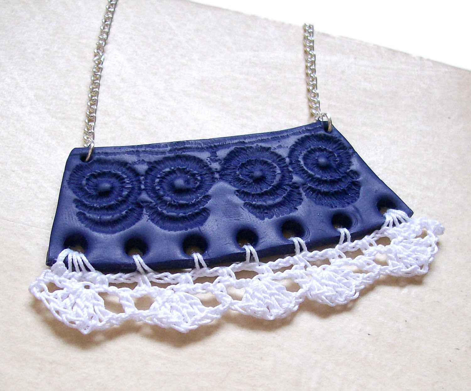 "Crochet clay bib necklace navy blue white fashion necklace nautical lace crochet frill polymer clay necklace ""The Collar Blue"" one-of-a-kind - HunkiiDorii"