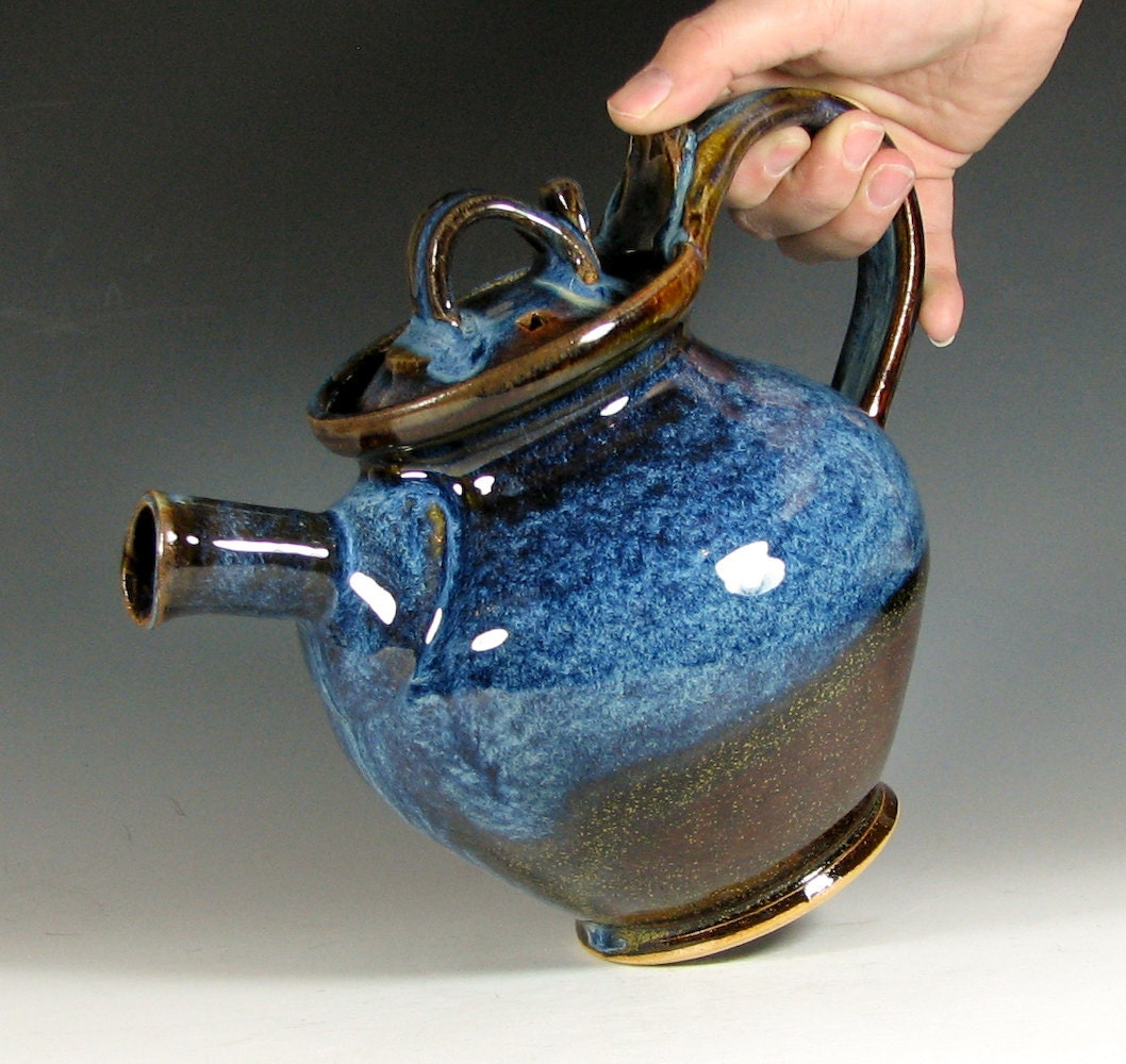 Teapot ceramic serving tea, hostess entertaining, glazed in caramel brown blue cream, handmade by hughes pottery