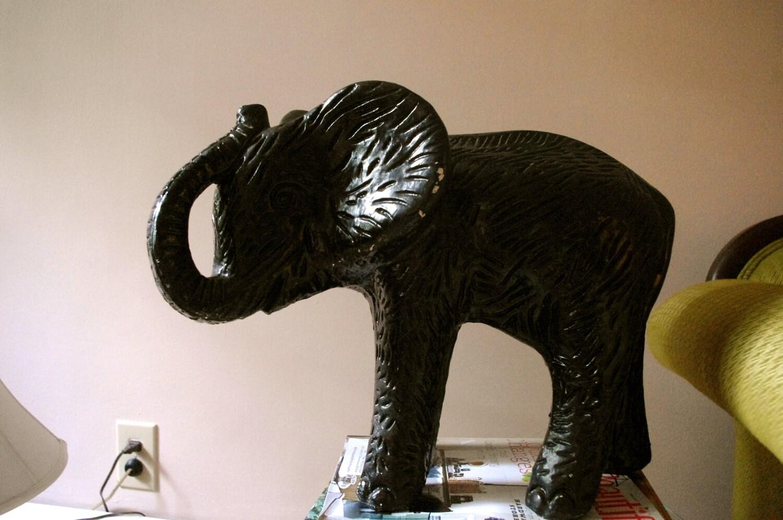 LARGE Vintage Black Plaster Elephant