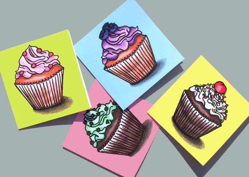 Cupcake Note Cards - Set of 8