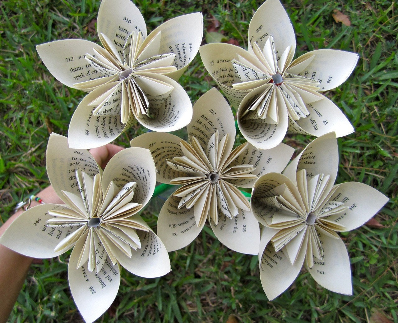 5 Recycled Book Paper Flowers - A Tale of Two Cities - Charles Dickens