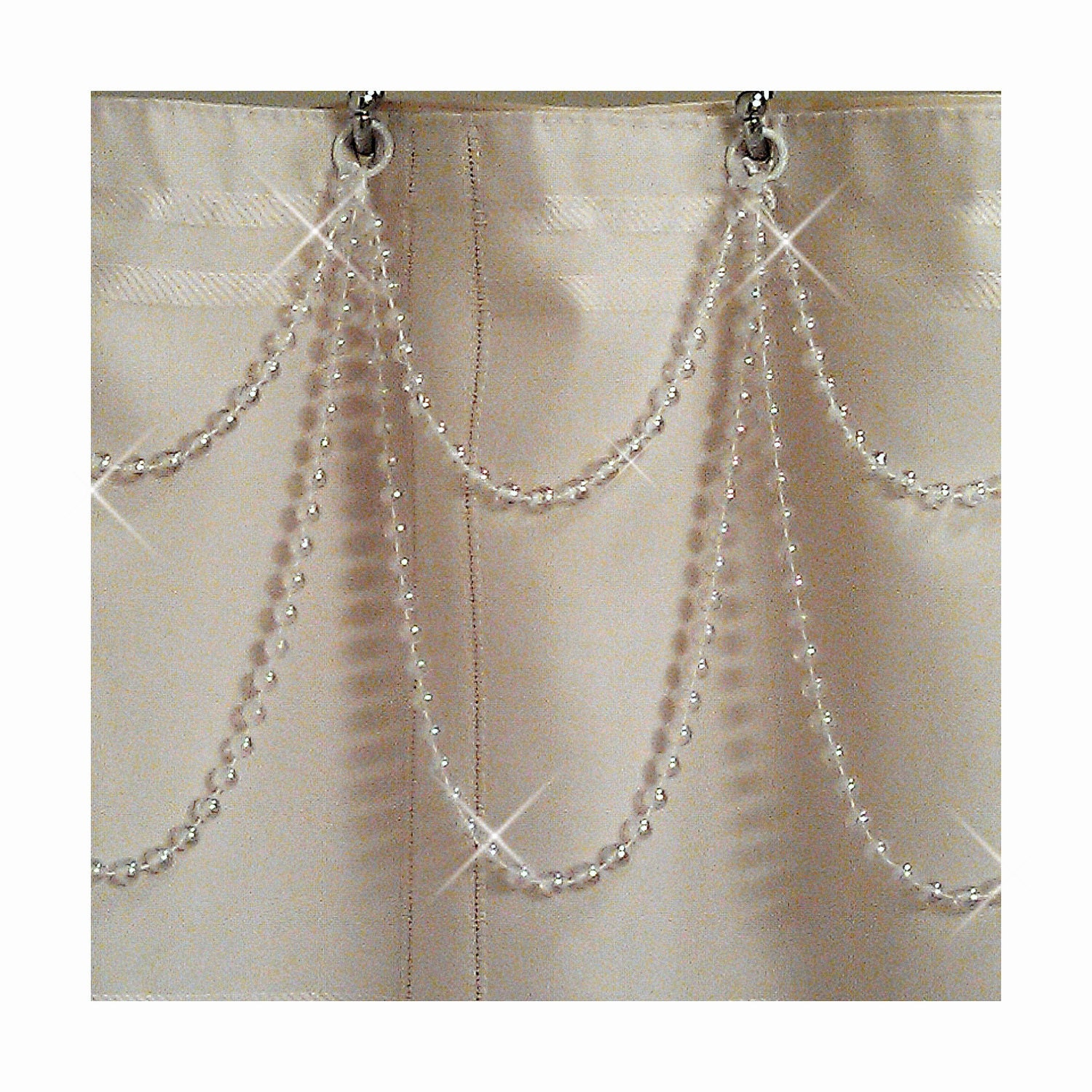 Double Swag....White Pearl Resin ...Shower by ShowerCurtainBling