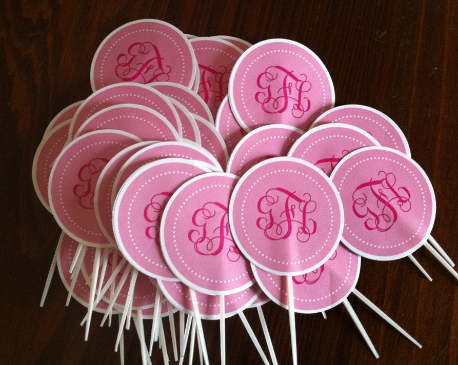 Monogram cup cake toppers