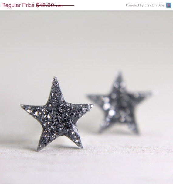 HOLIDAY SALE tiny star post earrings in sparkly silver - little galaxy earrings glitter - tinygalaxies