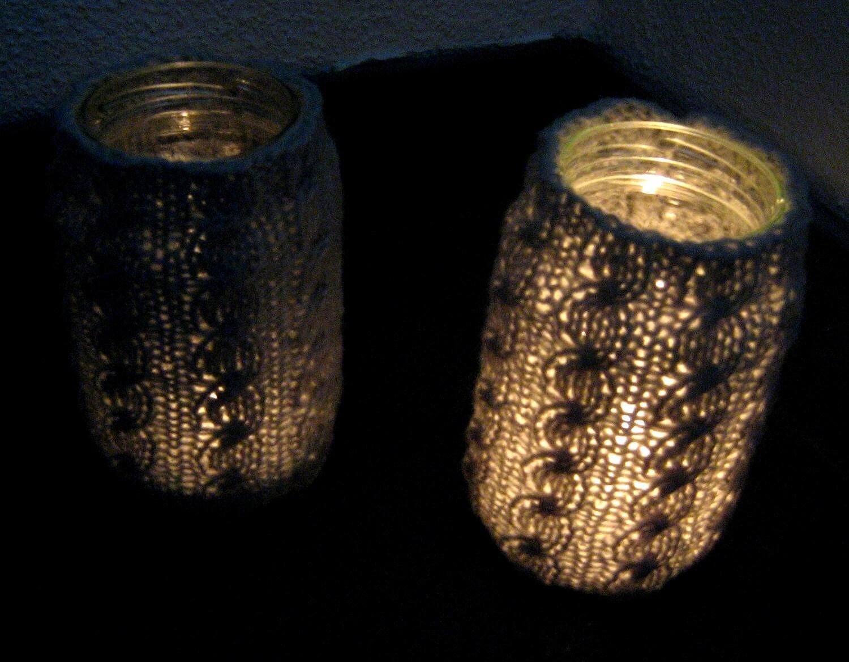 Large Cable Tea Light Lanterns, Vases, Set of 2 - Soft Light Gray