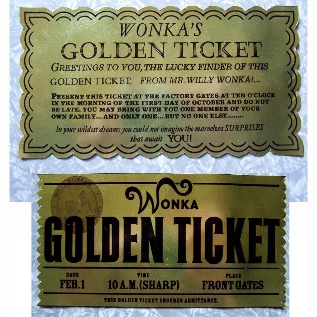 Golden Ticket From Willy Wonka And Charlie The By CreativePal