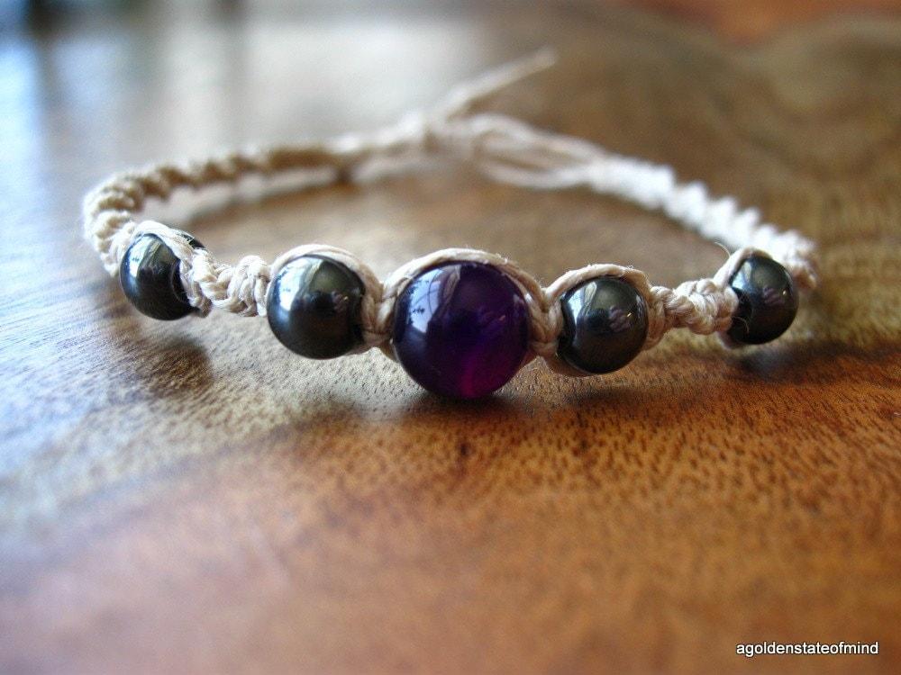 Hematite and Purple Agate Twist hemp bracelet