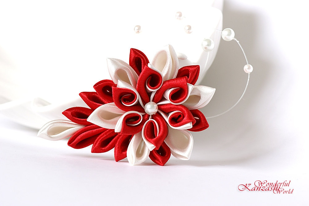 Kanzashi Fabric Flower Curly Petals Hair Clip Red and White Cream Ivory - wonderfulkanzashi
