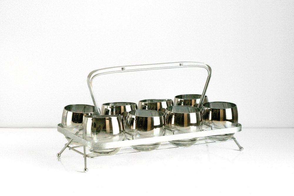 Mid Century Mad Men Roly Poly Glasses with Caddy - WiseApple