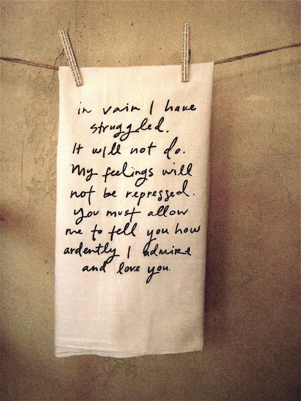 Mr. Darcy Proposal Tea Towel