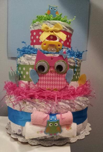 Colorful OWL 3 Tier diaper cake baby shower by diapercake4less