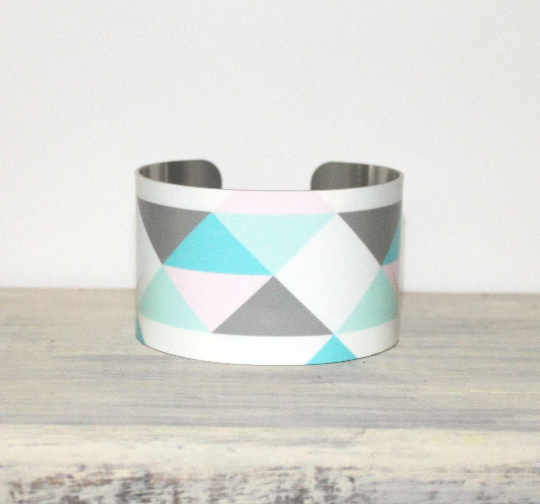 LONDON Cuff Bracelet - Metal Cuff - Aluminum Cuff Bracelet - Large Bold Bracelet - Wide Cuff Jewelry - Pastel Bracelet - PeaceLoveBeach