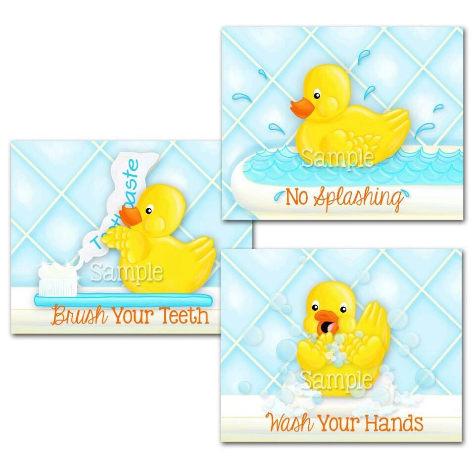 Set of 3 rubber ducky kids bathroom rules childrens bath wall 8x10 art
