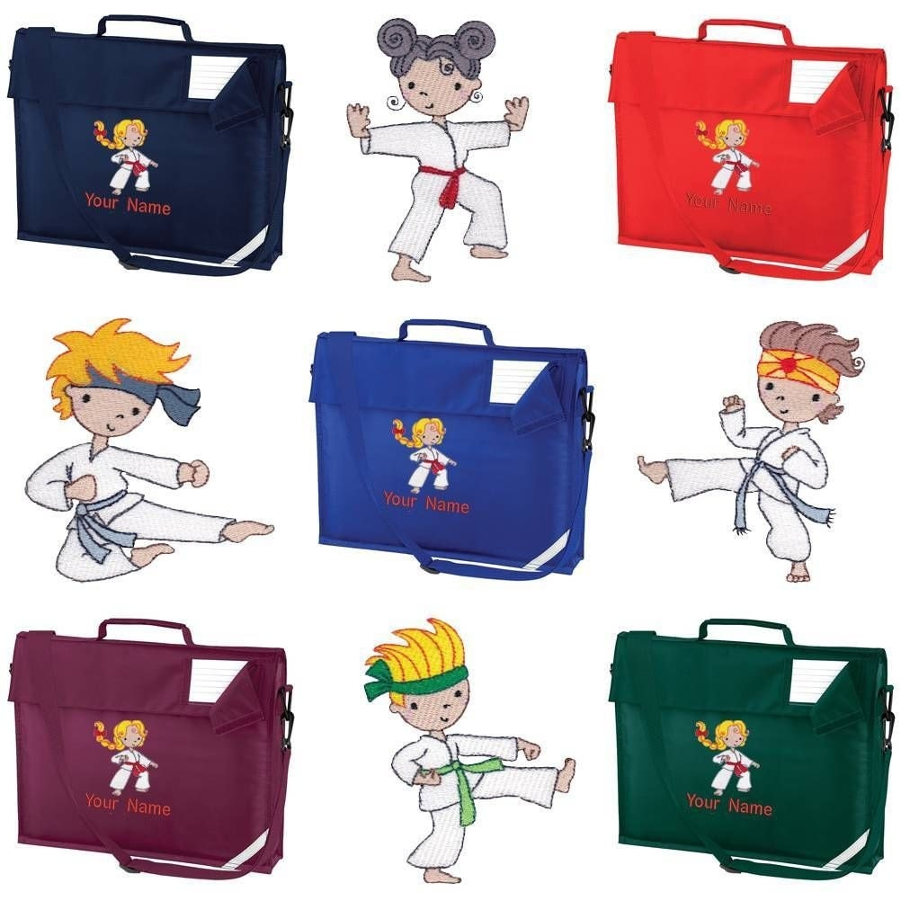Personalised Embroidered School Book  Bag and Strap with Karate image and name KC Personalized Book Bag with Karate Image and Name