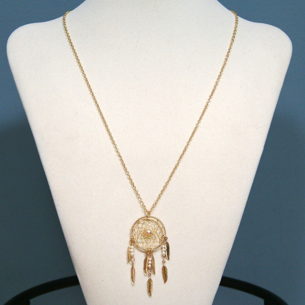Dream Catcher Pearl & Gold Dreamcatcher Necklace with Feathers