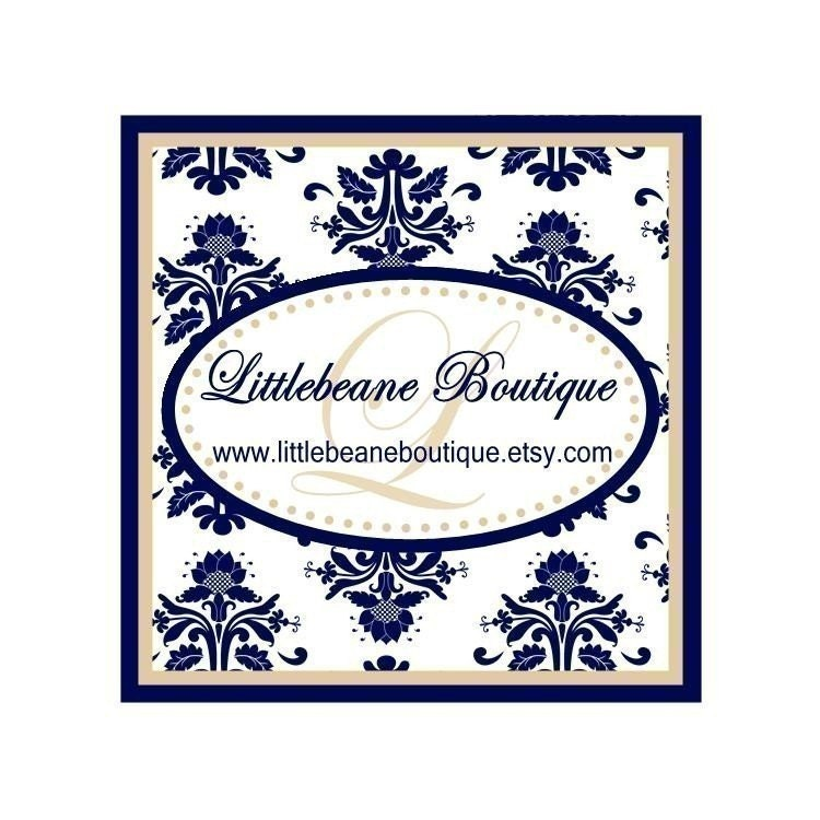 Damask Stickers Navy and Tan Wedding Bridal Shower Labels Seals