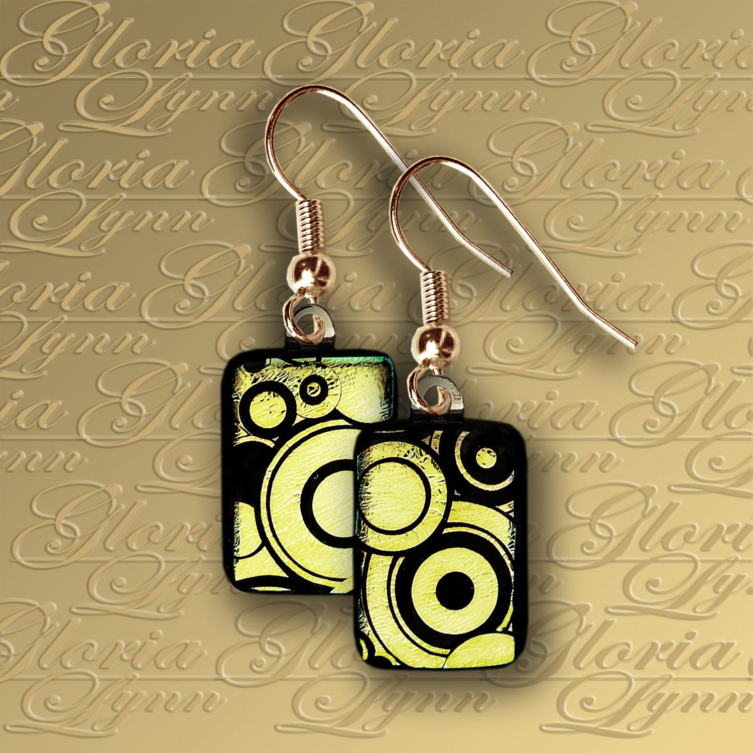 Contemporary Gold Dichroic Fused Glass Earrings ER396
