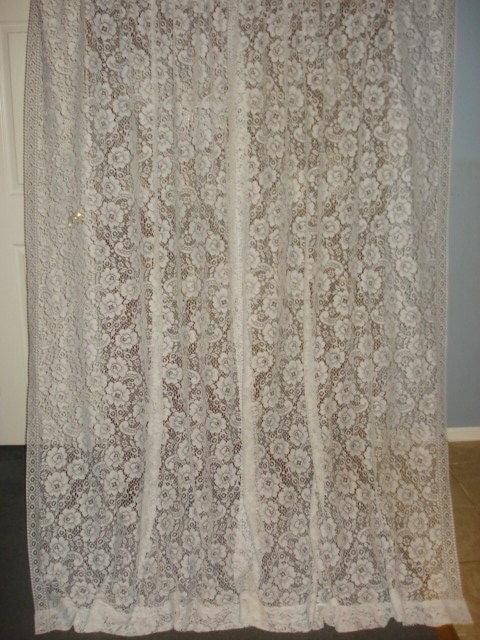 vintage white paisley floral lace net curtain 2 long by