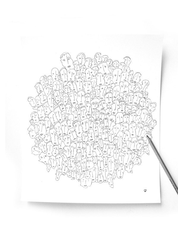 "Original Illustration - Crazy Art - ""Social Network""  by 99heads"