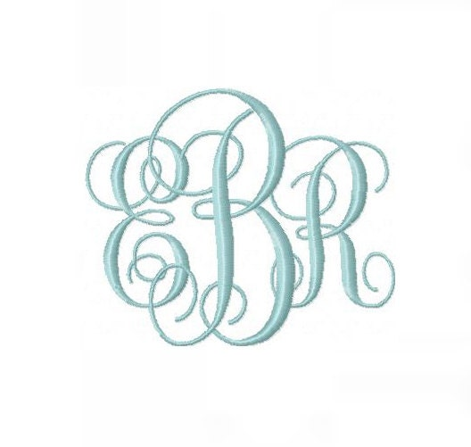And inch interlocking monogram embroidery by