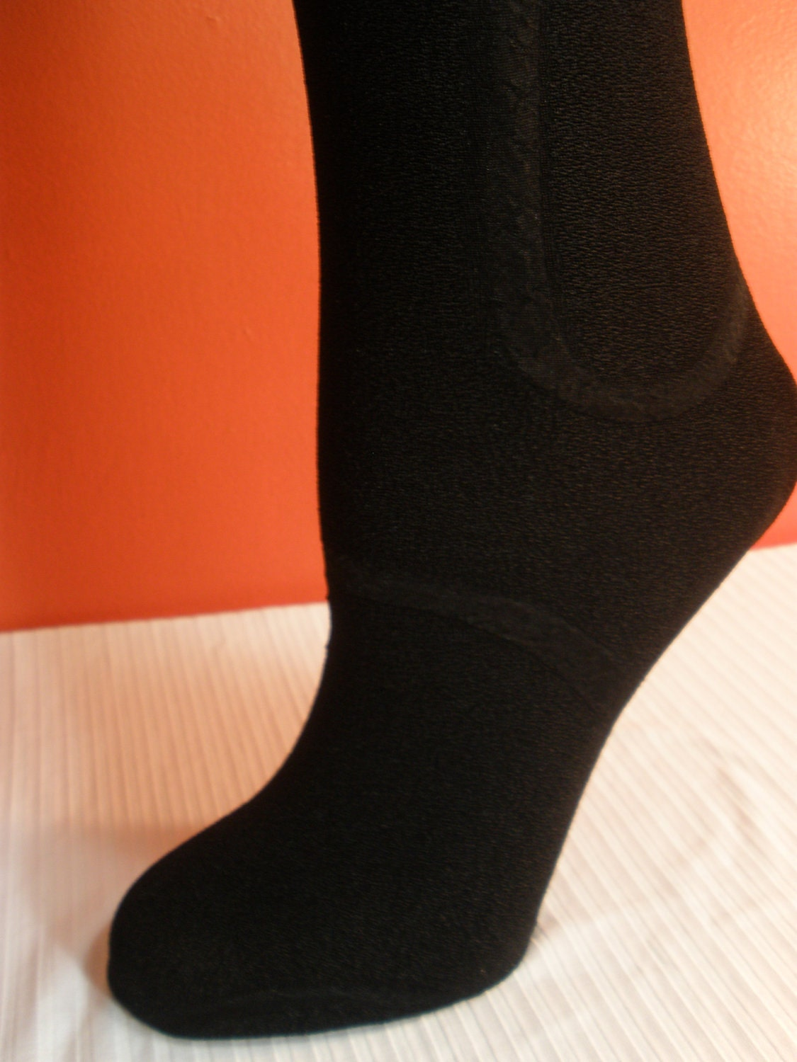 Gorgeous Black Lady Scrunchie Stocking Socks with Cute White Removeable Bow on Back, Thigh High Stockings