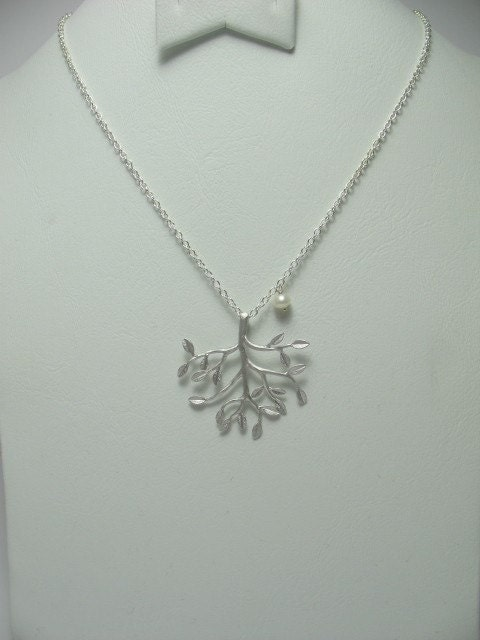 Tree of Life- Silver Branch with Freshwater Pearl- Necklace