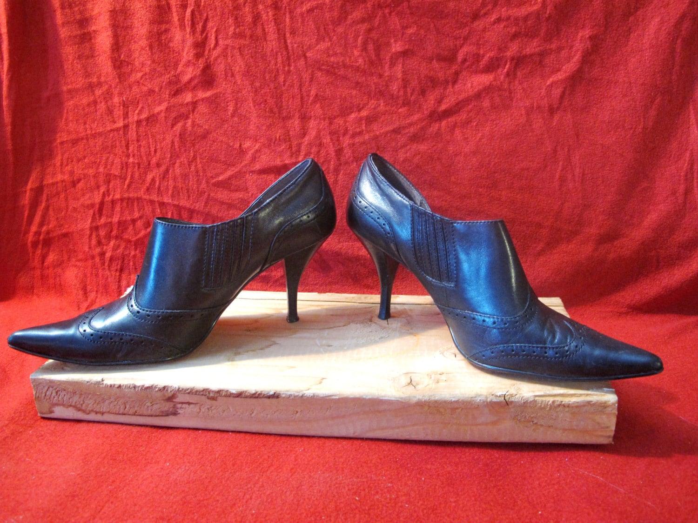 Tahari Tyler Black High Stiletto Heel Booties with Pointy Toe Black