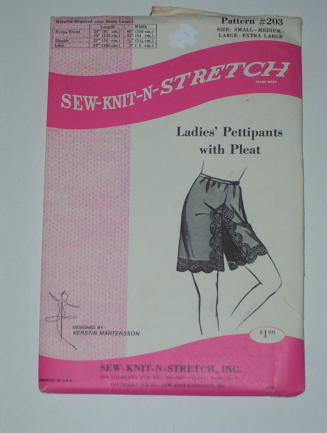 Stretch Knit Sewing Patterns : Vintage 60s Pettipants Sew Knit N Stretch Pattern by lisaanne1960