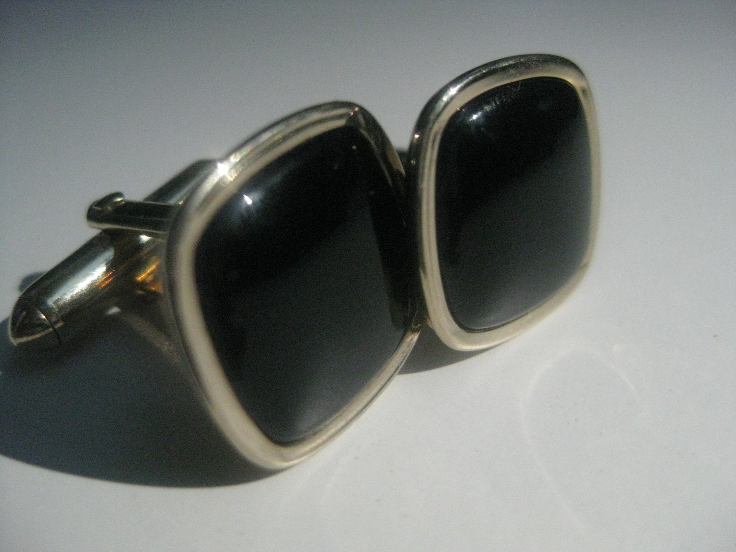 Vintage Swank Cufflinks Black Onyx and Gold Tone Metal