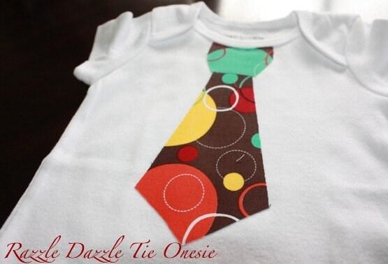 Baby Boy Tie Appliqued Onesie - Razzle Dazzle