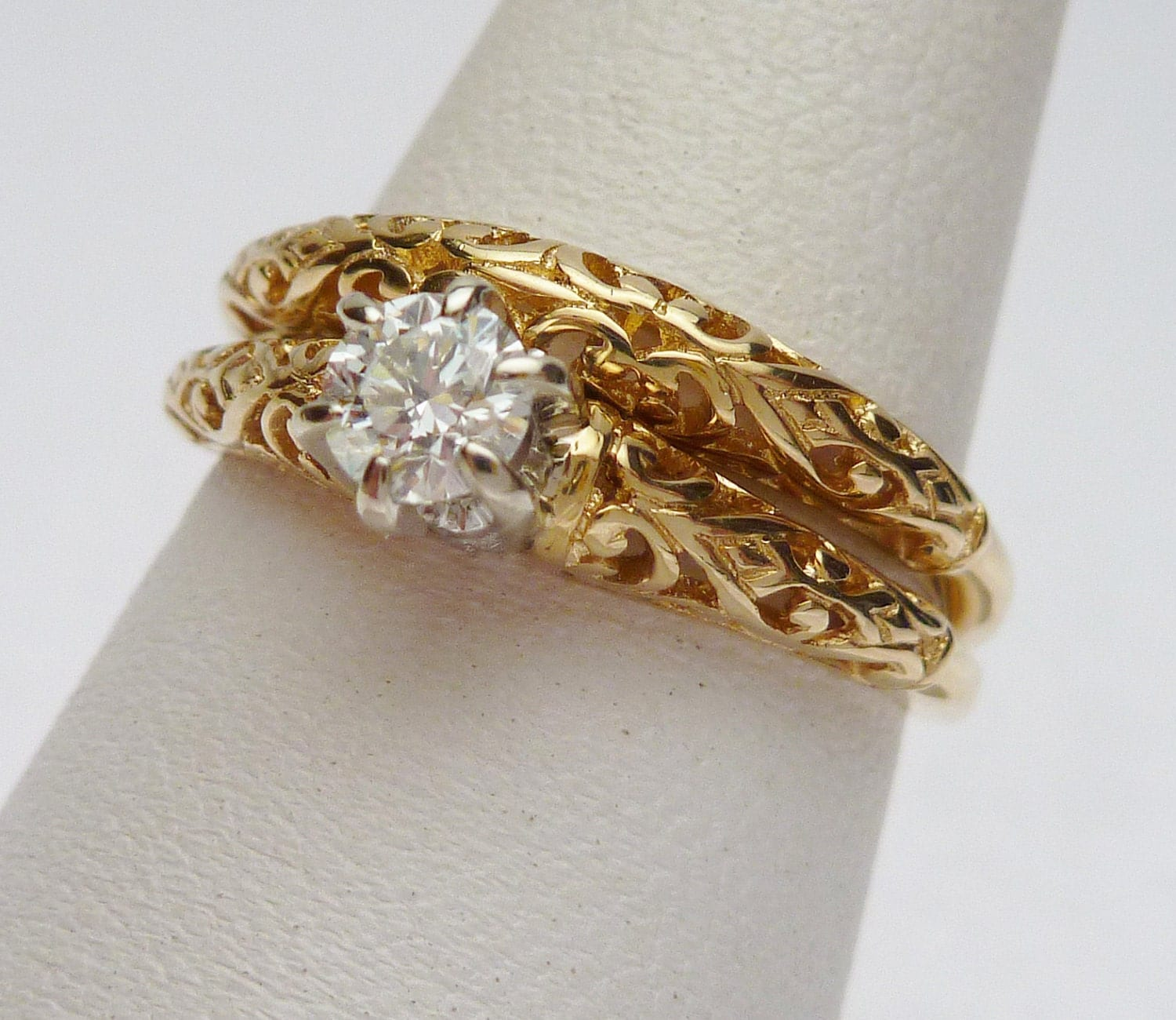 14kt 25 pt princess ring 1950s by klinesjewelry on