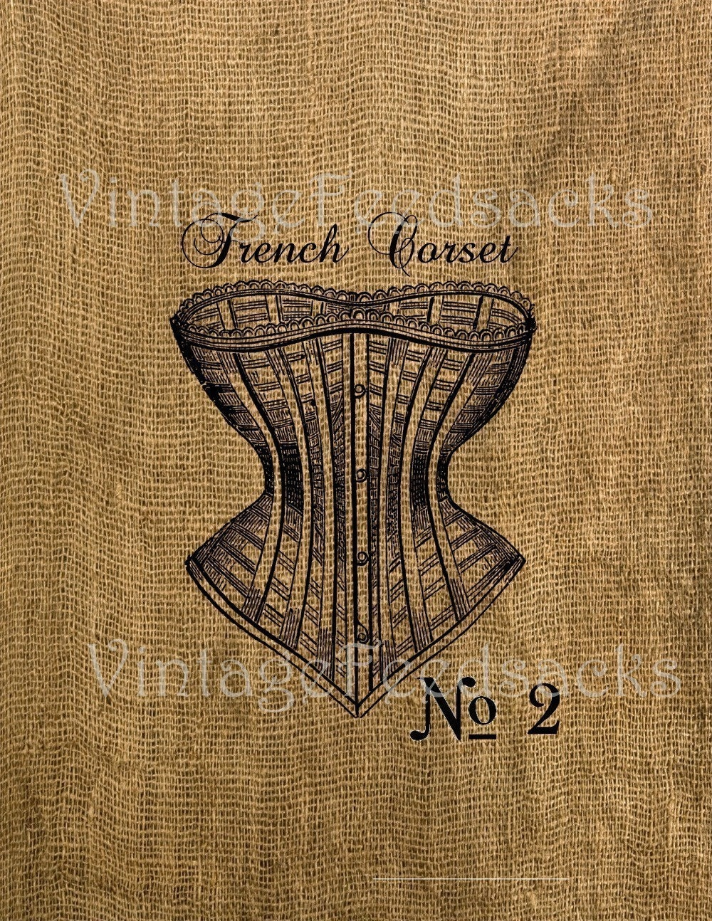 Vintage French Feedsack Corset Burlap Iron on Transfer 8.5x11 Tea Towel Pillow Digital Download No 199