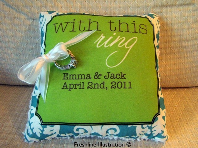 Custom With This Ring Monogram Names Date Ring Bearer Pillow in Lime Green Teal Damask or Available in Your Wedding Color Scheme