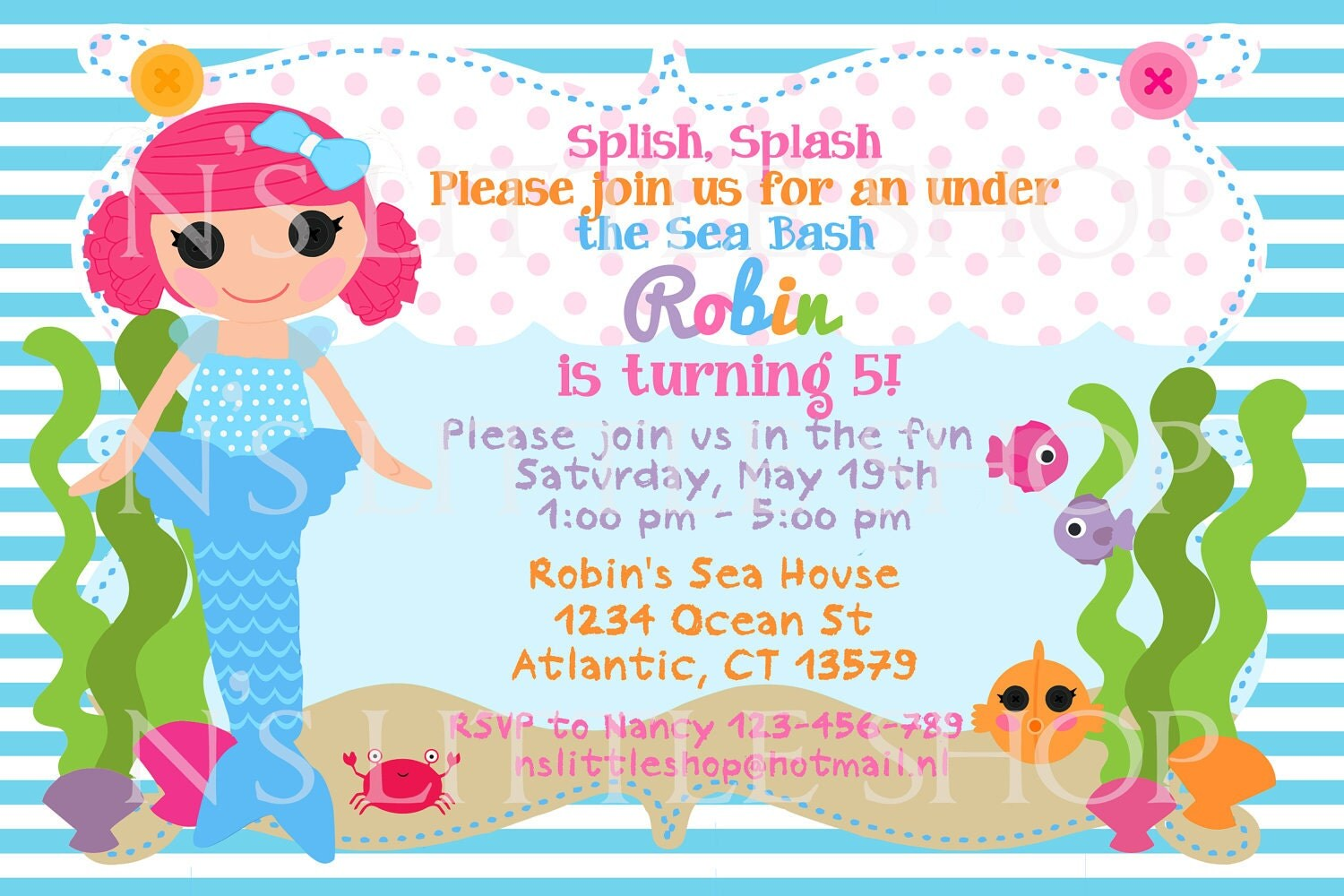 MERMAID DOLL birthday invitation card / customize/ by nslittleshop