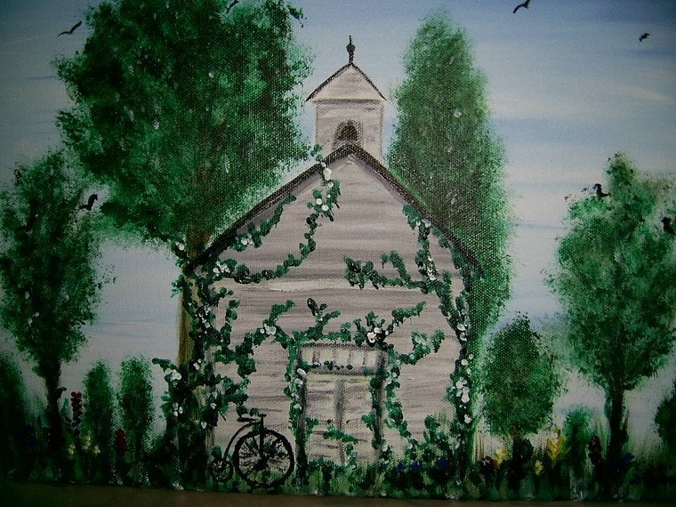 The Old School House  11 x 14 inch acrylic painting on canvas  FREE USA SHIPPING