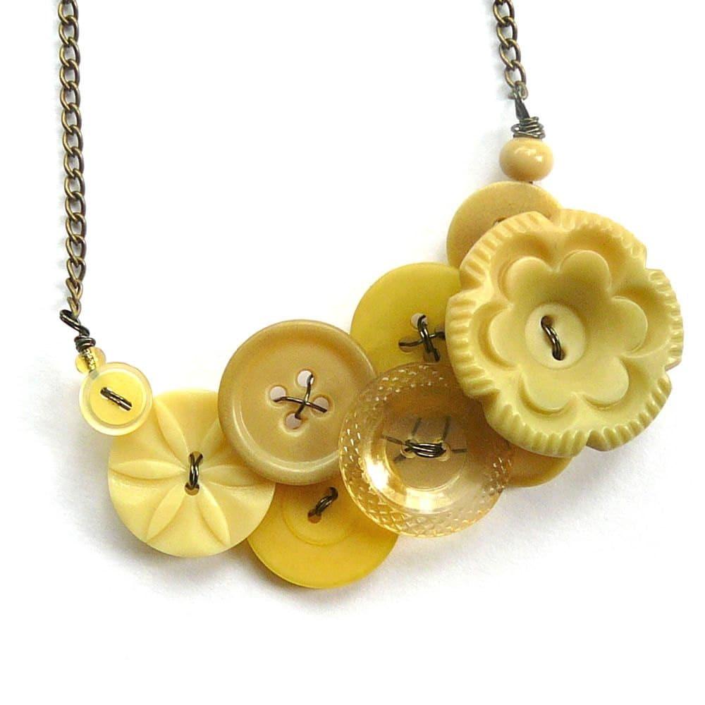 Pale Yellow Flower Vintage Button Statement Necklace