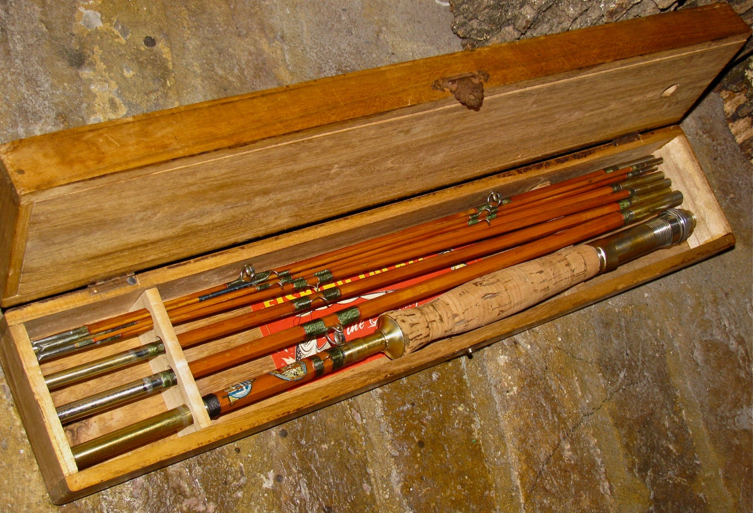 Vintage bamboo fly fishing rod wooden box by for Old fishing rods