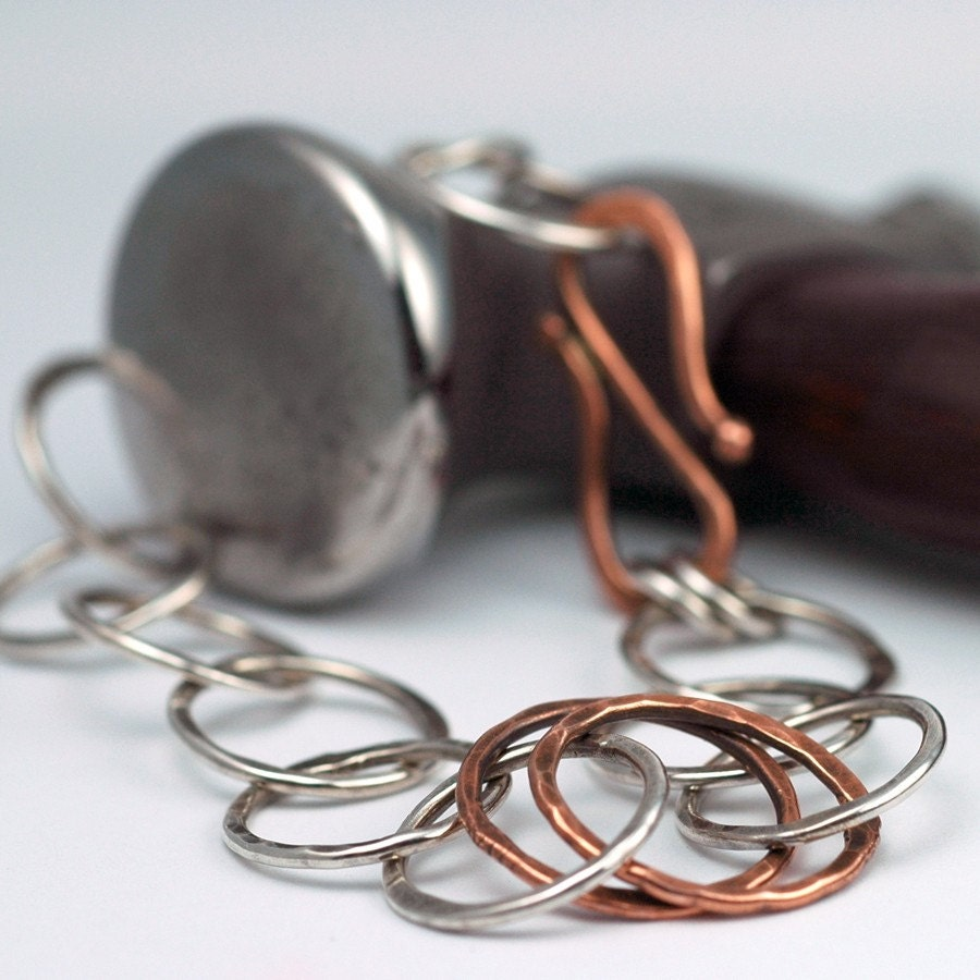 Link to Link Sterling Silver and Copper Hammered by thebeadgirl