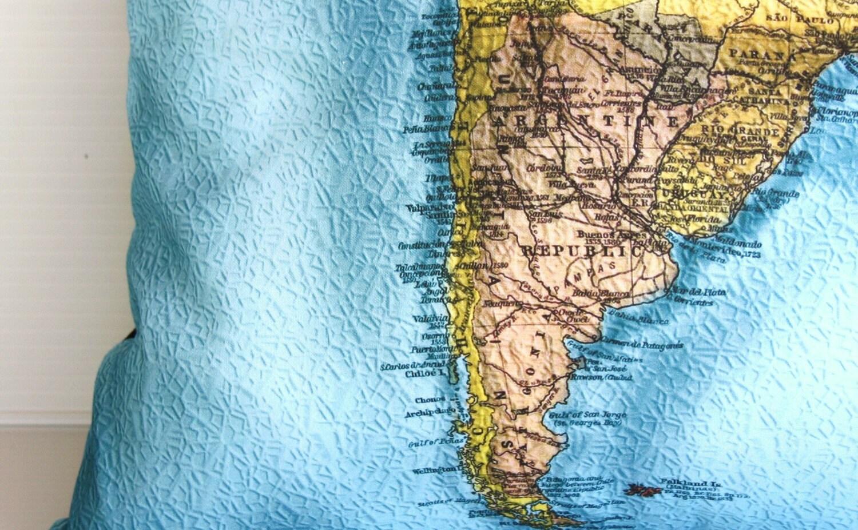 ЮЖНАЯ АМЕРИКА карте подушки, Органический хлопок Винтаж атлас карта, картография, 16 дюймов, 41 см