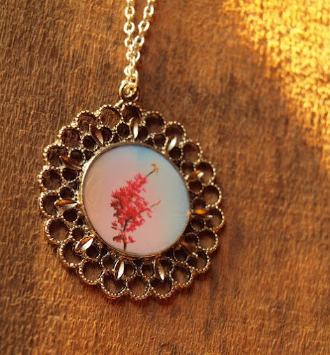 Single Flowering Branch antique photographic pendant necklace
