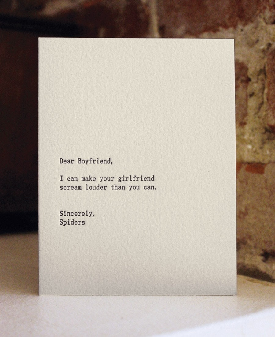 dear boyfriend, letterpress card