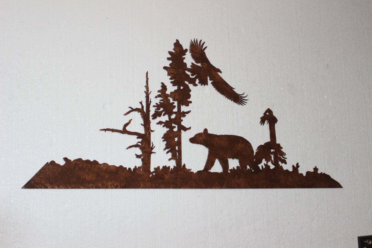 Bear and eagle metal wall art country rustic by for Country wall art