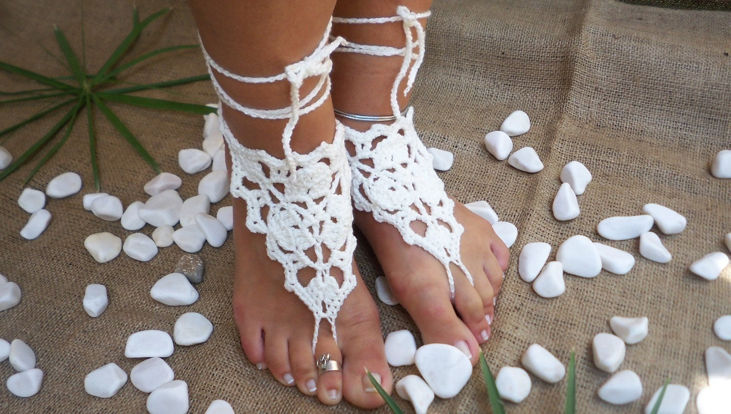 White  lace barefoot  wedding yasosandals yoga