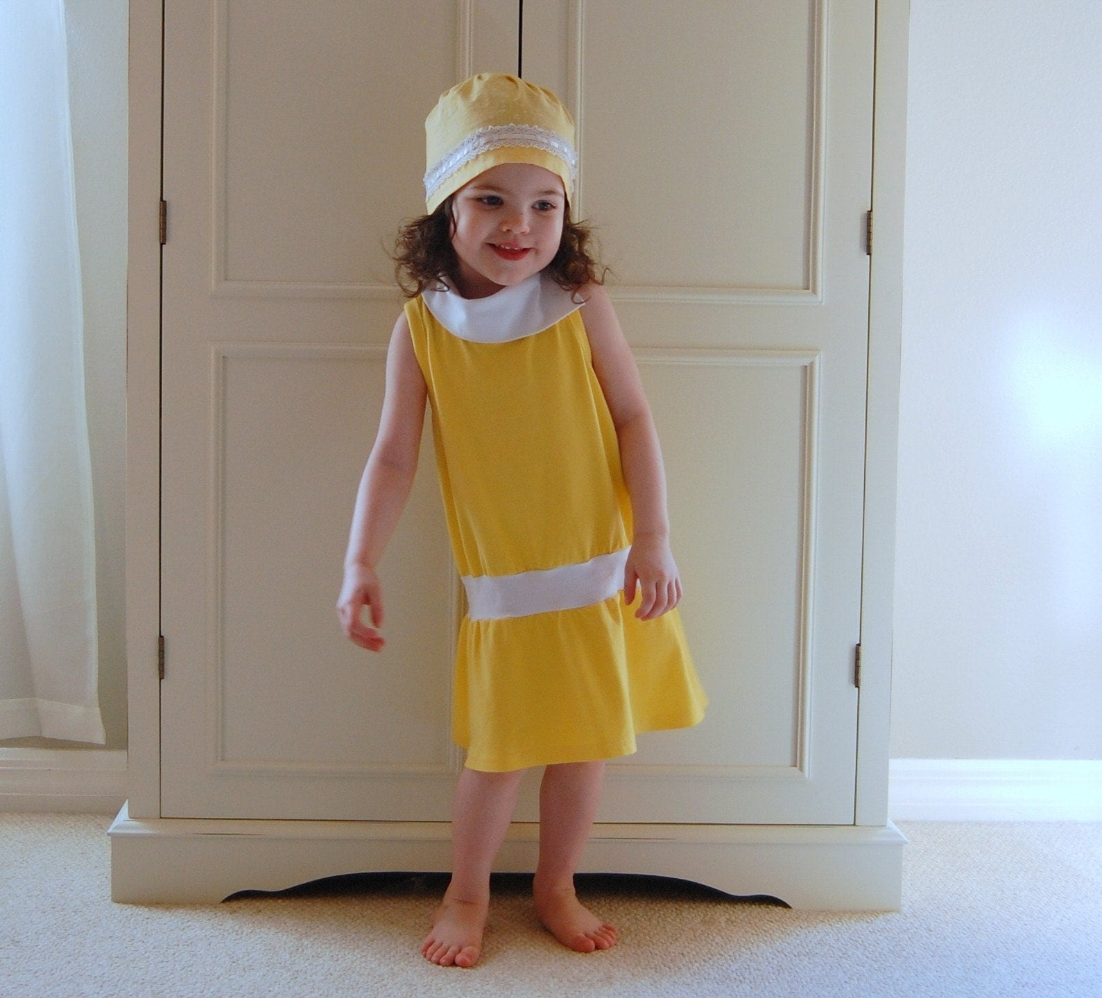 Sunny yellow and white drop waist stretch jersey knit dress (sizes 12m, 18m, 2T, 3T, 4T, 5T, 6)