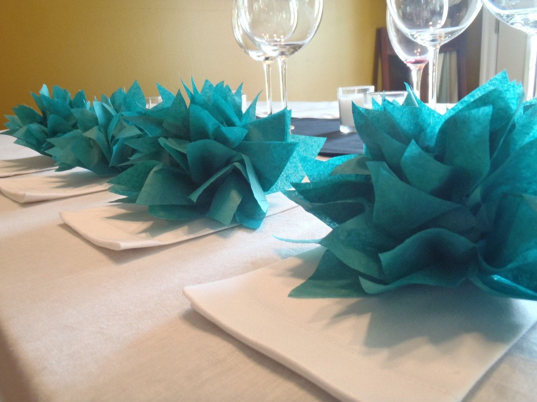 25 teal paper dahlia napkin holders eco wedding hip parties