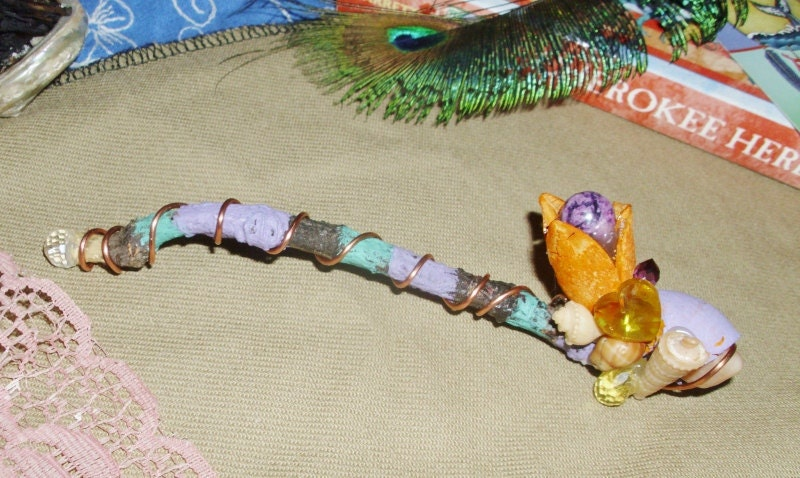 Colorful Fairy Healing Wand with Amethyst Carnelian Shells-Free Shipping WORLDWIDE