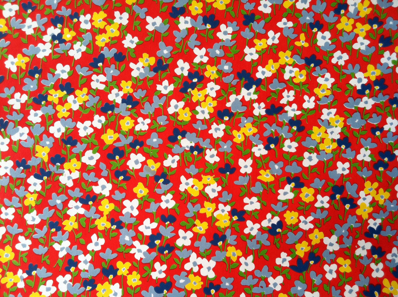 items similar to vintage 1970s wallpaper tiny flowers by
