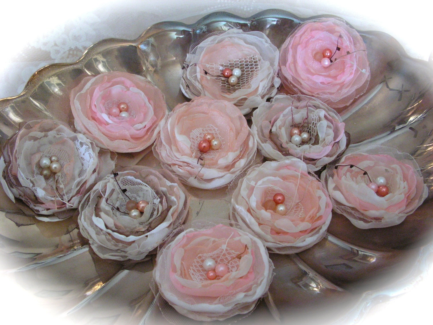 Wedding Flowers  Ivory and Pink  - for wedding decorations, - set of 10.